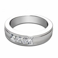 0.90CT Princess Cut Diamonds Men's Wedding Band