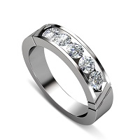 0.35CT Round Cut Diamond Wedding Band