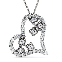 Round Cut Diamonds In 14KT White Gold Setting � 1.30CT Heart Pendant
