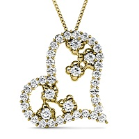 Round Cut Diamonds In 14KT Yellow Gold Setting � 1.30CT Heart Pendant