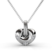 Round Cut Diamonds Set In 14KT White Gold � 0.35CT Heart Pendant