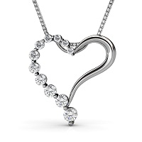 0.30CT Round Cut 14KT White Gold Diamond Heart Pendant