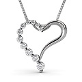 0.30CT Round Cut Platinum Diamond Heart Pendant