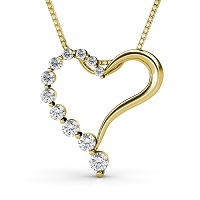 0.30CT Round Cut 14KT Yellow Gold Diamond Heart Pendant