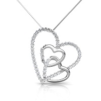 14KT White Gold Heart Pendant with 0.55CT Round Cut Diamonds