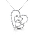 18KT White Gold Heart Pendant with 0.55CT Round Cut Diamonds