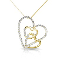 14KT Yellow Gold Heart Pendant with 0.55CT Round Cut Diamonds