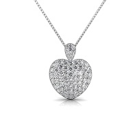 3.00CT Round Cut Diamonds 14KT White Gold Heart Pendant
