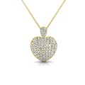 3.00CT Round Cut Diamonds 18KT Yellow Gold Heart Pendant