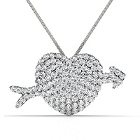 2.20CT Round Cut Diamonds In 14KT White Gold Heart Pendant