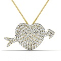 2.20CT Round Cut Diamonds In 14KT Yellow Gold Heart Pendant