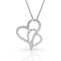 Heart Pendant with 0.90CT Round Cut Diamonds within 18KT White Gold