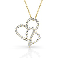 Heart Pendant with 0.90CT Round Cut Diamonds within 14KT Yellow Gold