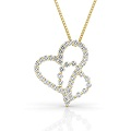 Heart Pendant with 0.90CT Round Cut Diamonds within 18KT Yellow Gold