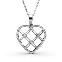 14KT White Gold with 0.85CT Round Cut Diamonds Heart Pendant