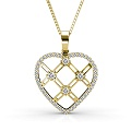 14KT Yellow Gold with 0.85CT Round Cut Diamonds Heart Pendant