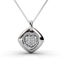 Diamond Heart Pendant with 0.90CT Round Cut Diamonds and 14KT White Gold