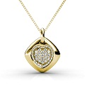 Diamond Heart Pendant with 0.90CT Round Cut Diamonds and 14KT Yellow Gold