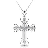 Christian Religious 0.60CT Round Cut Diamonds (I-J Color and VS2-SI1 Clarity) 14KT White Gold Cross Pendant