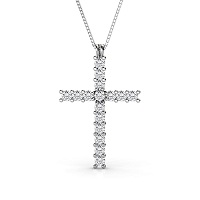 14KT White Gold Religious Cross Diamond Pendant with 1.00CT (VS2-SI1 Clarity and I-J Color) Round Cut Diamonds