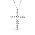 18KT White Gold Religious Cross Diamond Pendant with 1.00CT (VS1-VS2 Clarity and G-H Color) Round Cut Diamonds