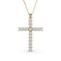 14KT Yellow Gold Religious Cross Diamond Pendant with 1.00CT (VS2-SI1 Clarity and I-J Color) Round Cut Diamonds