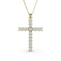 18KT Yellow Gold Religious Cross Diamond Pendant with 1.00CT (VS2-SI1 Clarity and I-J Color) Round Cut Diamonds