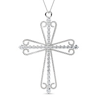 14KT White Gold Christian Cross Religious Pendant with 0.60CT Round Cut Diamonds (I-J Color and VS2-SI1 Clarity)
