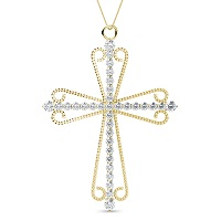 14KT Yellow Gold Christian Cross Religious Pendant with 0.60CT Round Cut Diamonds (I-J Color and VS2-SI1 Clarity)