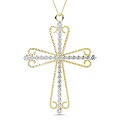 14KT Yellow Gold Christian Cross Religious Pendant with 0.60CT Round Cut Diamonds (G-H Color and VS1-VS2 Clarity)