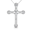 Christian Religious Cross 14KT White Gold Diamond Pendant with 1.50CT Round Cut Diamonds (I-J Color and VS2-SI1 Clarity)