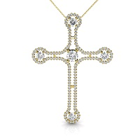 Christian Religious Cross 14KT Yellow Gold Diamond Pendant with 1.50CT Round Cut Diamonds (I-J Color and VS2-SI1 Clarity)