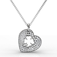 0.40CT Heart Pendant Round Cut Diamonds within 14KT White Gold