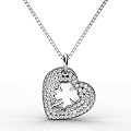 0.40CT Heart Pendant Round Cut Diamonds within 18KT White Gold