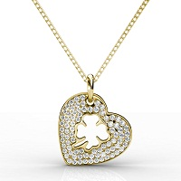 0.40CT Heart Pendant Round Cut Diamonds within 14KT Yellow Gold
