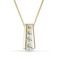 0.65CT Of I-J Color and VS2-SI1 Clarity 14KT Yellow Gold Round Cut Diamond Pendant