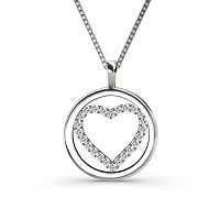 0.25CT Round Cut Diamond Heart Pendant