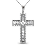 Religious Diamond Christian Cross Pendant 0.55CT Round Cut Diamonds (I-J Color and VS2-SI1 Clarity) with 14KT White Gold