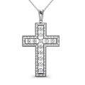 Religious Diamond Christian Cross Pendant 0.55CT Round Cut Diamonds (G-H Color and VS1-VS2 Clarity) with 18KT White Gold