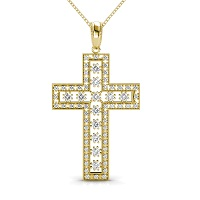 Religious Diamond Christian Cross Pendant 0.55CT Round Cut Diamonds (I-J Color and VS2-SI1 Clarity) with 14KT Yellow Gold