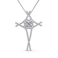 1.00CT Round Cut Diamonds In 14KT White Gold Christian Religious Pendant (I-J Color and VS2-SI1 Clarity)