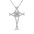 1.00CT Round Cut Diamonds In 14KT White Gold Christian Religious Pendant (G-H Color and VS1-VS2 Clarity)