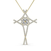 1.00CT Round Cut Diamonds In 14KT Yellow Gold Christian Religious Pendant (I-J Color and VS2-SI1 Clarity)