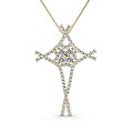 1.00CT Round Cut Diamonds In 18KT Yellow Gold Christian Religious Pendant (G-H Color and VS1-VS2 Clarity)