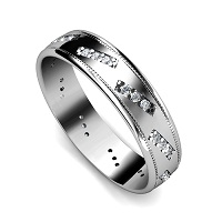 0.45CT Round Cut Diamonds Men's Wedding Band