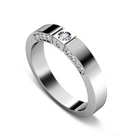 0.40CT Round Cut Diamond Wedding Band