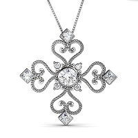 0.70CT Round Cut Diamonds with 14KT White Gold Heart Pendant (I-J Color and VS2-SI1 Clarity)