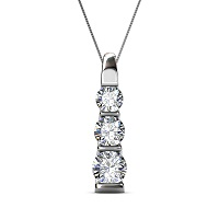 0.45CT Round Cut Diamonds with 14KT White Gold Pendant (I-J Color and VS2-SI1 Clarity)