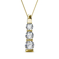 0.45CT Round Cut Diamonds with 14KT Yellow Gold Pendant (I-J Color and VS2-SI1 Clarity)
