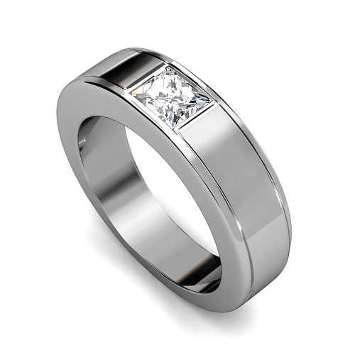 065CT Princess Cut Diamonds Mens Wedding Band In 14KT White Gold